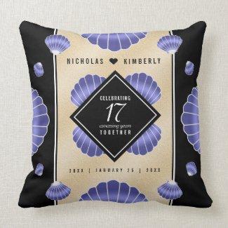 Elegant 17th Shells Wedding Anniversary Cushion