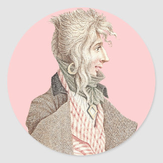 Elegant 18th Century Frenchman With Long Hair Round Sticker