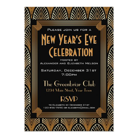 Elegant 1920s Deco New Year's Eve Party Invitation
