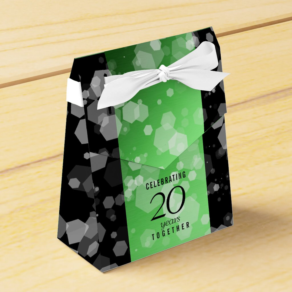 Elegant 20th Emerald Wedding Anniversary Favour Box