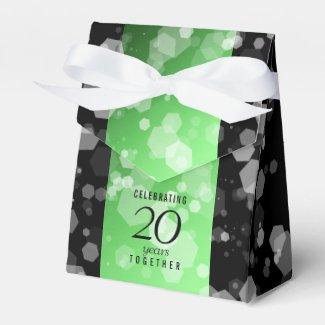 Elegant 20th Emerald Wedding Anniversary Favour Box