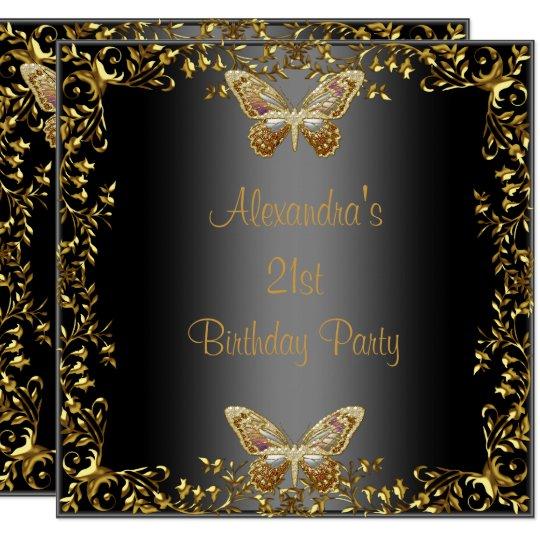 Elegant 21st Birthday Black Gold Butterfly Invitation