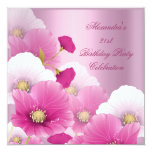 Elegant 21st Birthday Party Pink White Poppies Custom Invites