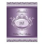 Elegant 21st Birthday Party Satin Purple Mauve 11 Cm X 14 Cm Invitation Card