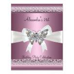 Elegant 21st Birthday Satin Pink Butterfly Jewel 11 Cm X 14 Cm Invitation Card