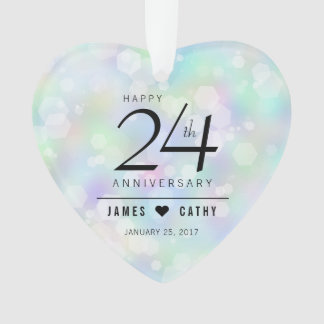Elegant 24th Opal Wedding Anniversary Celebration Ornament