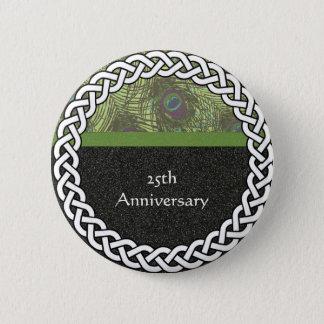 Elegant 25th Anniversary Lapel Pin/Button 6 Cm Round Badge