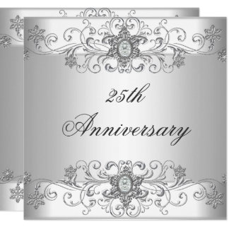 Elegant 25th Anniversary Silver White Diamond Card