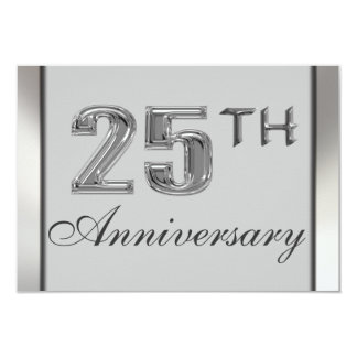 """Elegant 25th Silver Anniversary Party Invitations 3.5"""" X 5"""" Invitation Card"""