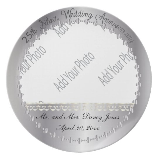 Elegant 25th Silver Anniversary Photo Keepsake Plate
