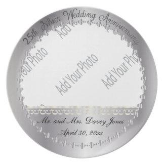 Elegant 25th Silver Anniversary Photo Plate