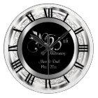 Elegant 25th Silver Diamond Anniversary Large Clock