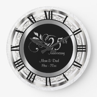 Elegant 25th Silver Diamond Anniversary Large Clock