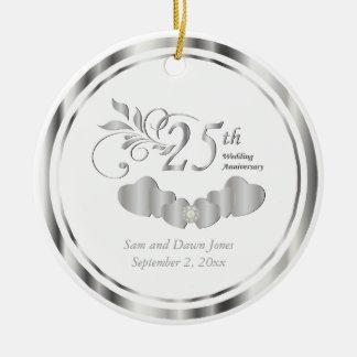 Elegant 25th Silver Wedding Anniversary Round Ceramic Decoration
