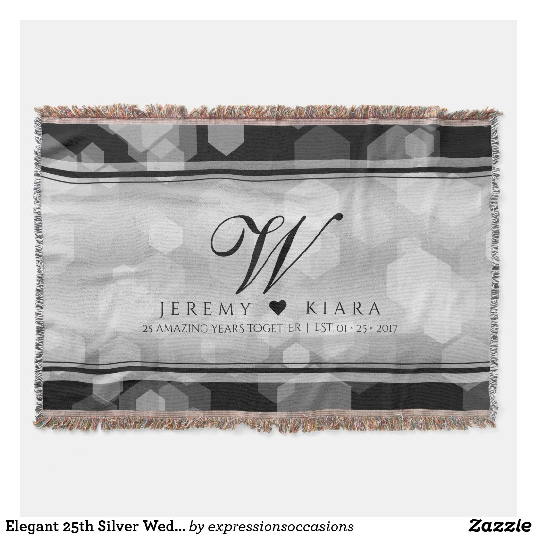 Elegant 25th Silver Wedding Anniversary Throw Blanket
