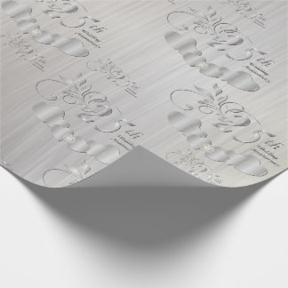 Elegant 25th Silver Wedding Anniversary Wrapping Paper