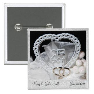 Elegant 25th Wedding Anniversary Button