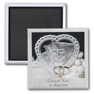 Elegant 25th Wedding Anniversary Magnet
