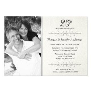 Elegant 25th Wedding Anniversary Party Invitations