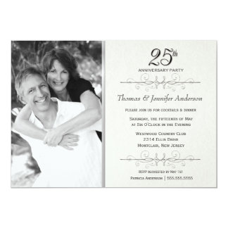 Elegant 25th Wedding Anniversary Party Invitations