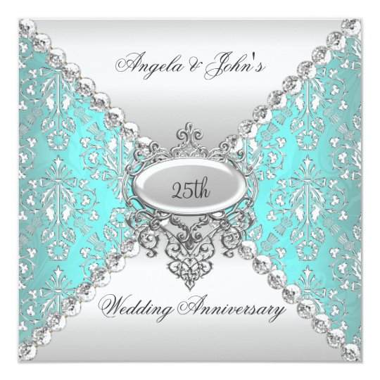 Elegant 25th Wedding Anniversary Teal Blue White Card