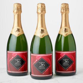 Elegant 26th Rose Wedding Anniversary Celebration Champagne Label