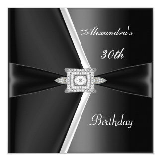 Elegant 30th Birthday Black White Diamond 13 Cm X 13 Cm Square Invitation Card