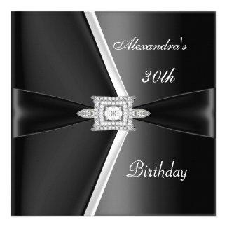 "Elegant 30th Birthday Black White Diamond 5.25"" Square Invitation Card"