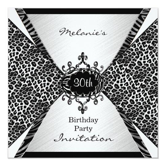 Elegant 30th Birthday Leopard Zebra Black White Card