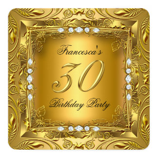 Elegant 30th Birthday Party Elite Gold Diamonds Card