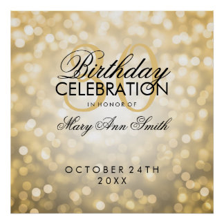 Elegant 30th Birthday Party Glitter Lights Gold Poster