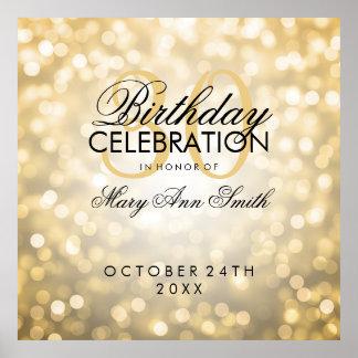 Elegant 30th Birthday Party Glitter Lights Gold Poster