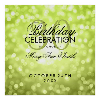 Elegant 30th Birthday Party Glitter Lights Green Poster