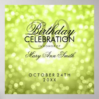 Elegant 30th Birthday Party Glitter Lights Green Poster