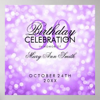 Elegant 30th Birthday Party Glitter Lights Purple Poster
