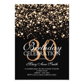 Elegant 30th Birthday Party Gold Midnight Glam 13 Cm X 18 Cm Invitation Card