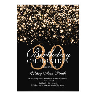Elegant 30th Birthday Party Gold Midnight Glam Card
