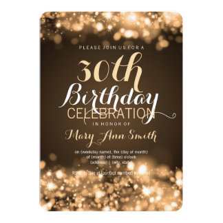 Elegant 30th Birthday Party Gold Sparkling Lights Card