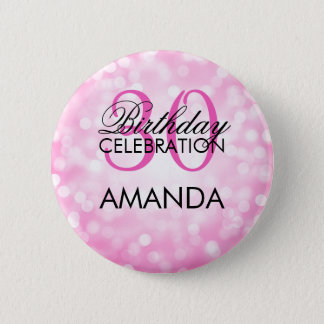 Elegant 30th Birthday Party Pink Glitter Lights 6 Cm Round Badge