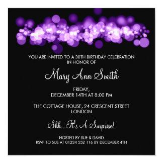 Elegant 30th Birthday Party Purple Bokeh Lights 13 Cm X 13 Cm Square Invitation Card