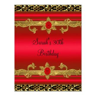 Elegant 30th Birthday Party Rich Red Gold Black 2 11 Cm X 14 Cm Invitation Card
