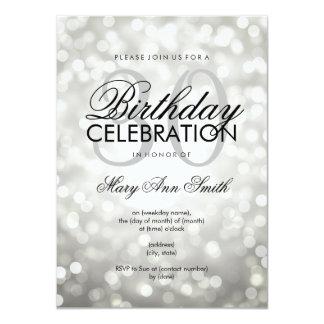 Elegant 30th Birthday Party Silver Glitter Lights 11 Cm X 16 Cm Invitation Card