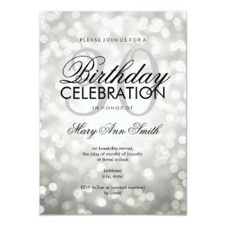 Elegant 30th Birthday Party Silver Glitter Lights Card