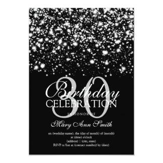 Elegant 30th Birthday Party Silver Midnight Glam 13 Cm X 18 Cm Invitation Card