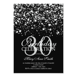 Elegant 30th Birthday Party Silver Midnight Glam Card