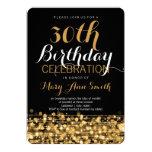 Elegant 30th Birthday Party Sparkles Gold 13 Cm X 18 Cm Invitation Card