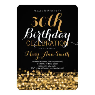 Elegant 30th Birthday Party Sparkles Gold Card