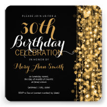 Elegant 30th Birthday Party Sparkles Gold Custom Announcements