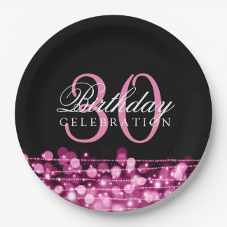 Elegant 30th Birthday Party Sparkles Pink Paper Plate