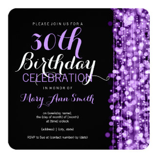 Elegant 30th Birthday Party Sparkles Purple 13 Cm X 13 Cm Square Invitation Card
